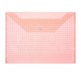 Папка-конверт на кнопке, формат А4, 80 мкр, «Клетка», тонированная, красная