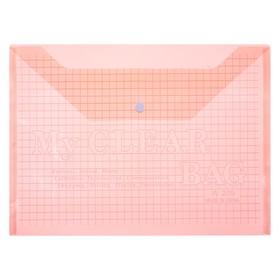 Папка-конверт на кнопке, формат А4, 120 мкр, «Клетка», тонированная, красная