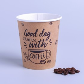 """Glass craftily """"Starts with coffee"""" single-ply, 250 ml"""