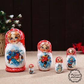 Матрёшка «Народные гуляния», красная, 5 кукольная, 14 см