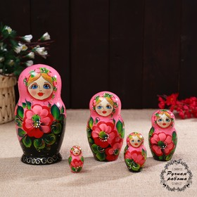 "Matryoshka ""Matryoshka""flora roses./black.5 puppet 17 cm"