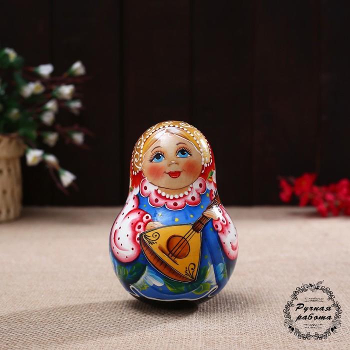 Неваляшка «В голубом платье с балалайкой» 14см