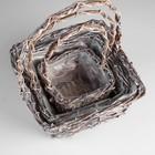 Набор корзин «Корзиночка», 3 шт: 33×31×16/49 см, 27×23×14/46 см, 24×18×11/39 см - фото 1957829