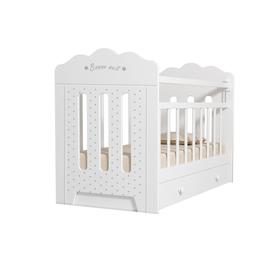 Кровать детская BONNE маятник с ящиком  (белый) (1200х600)