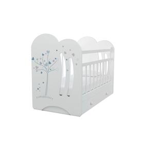 Кровать детская WIND TREE маятник с ящиком  (белый) (1200х600)