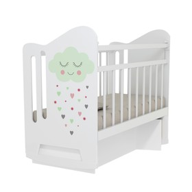 Кровать детская Nicole колесо-качалка с маятником (белый) (1200х600 )