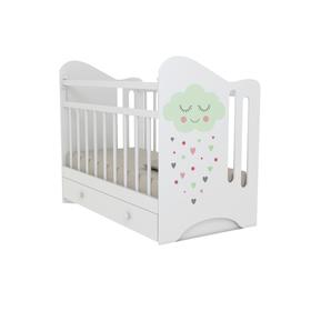 Кровать детская Nicoler маятник с ящиком  (белый) (1200х600)