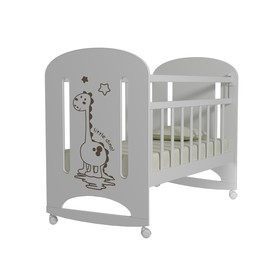 Кровать детская DINO колесо-качалка, цвет белый