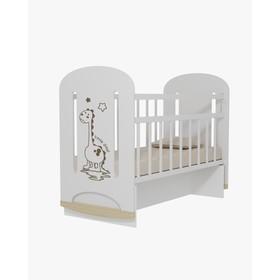 Кровать детская DINO колесо-качалка с маятником (белый) (1200х600)