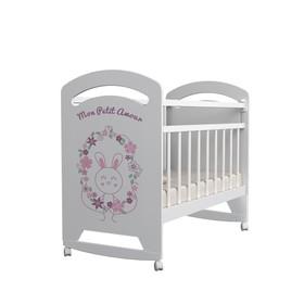 Кровать детская Mon Amur колесо-качалка (белый) (1200х600