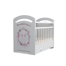 Кровать детская Mon Amur маятник с ящиком  (белый) (1200х600)