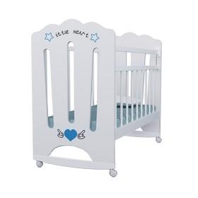 Кровать детская Little Heart колесо-качалка (белый) 1200х600