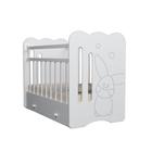 Кровать детская Sweet Rabbit маятник с ящиком (белый) ( 1200х600)