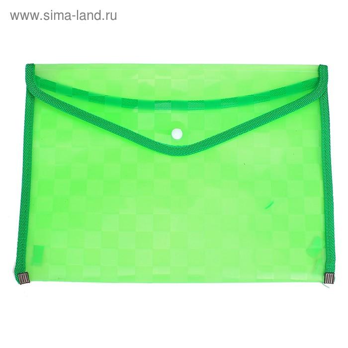 Папка-конверт на кнопке формат А4 350мкр Квадраты с кантом зеленая