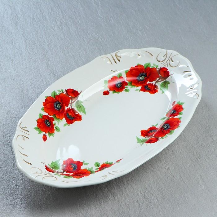 """Блюдо """"Овальное"""" цветы, микс - фото 57163386"""