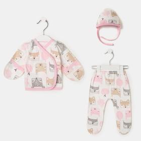 Комплект детский, цвет белый/роз.лисички, рост 56