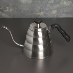 Кофейник с длинным носиком «Пуровер», 1,2 л , с термометром, 304 сталь