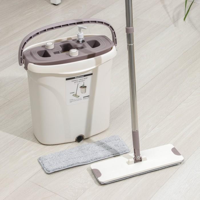 Набор для уборки: ведро с отсеками для полоскания и отжима 8 л, швабра плоская, доп.насадка