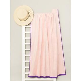 Полотенце пляжное велюровое Bradley 80х170 см, розовый, хлопок 100%, 500 г/м2 - фото 1395930