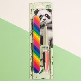A set of Panda 2pr manicure (nail file-emery nail file-diamond burs) rainbow blister QF