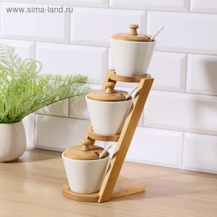 A set of jars for bulk products with spoons And stand, 3 PCs 150 ml
