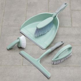 Набор для уборки, 5 предметов: совок, 3 щётки, водосгон, цвет МИКС