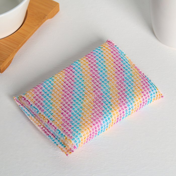 Губка для мытья посуды с пластиковым скрабером «Радуга», 13×9×1,5 см - фото 4645858