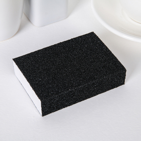 """Губка чистящая """"Чудо-губка"""", 2 стороны жёсткие, 2 стороны для полироли, 10×7×2,5 см, цвет чёрный"""
