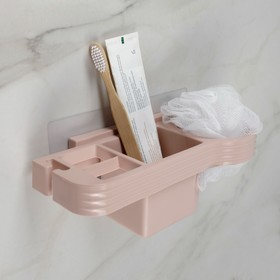 Подставка для ванных принадлежностей, 25×11×8,3 см, в комплекте с креплениями, цвет МИКС