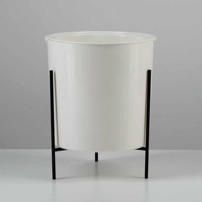 Кашпо с подставкой «Акцент», 2,2 л (1,1 л), цвет белый - фото 838374