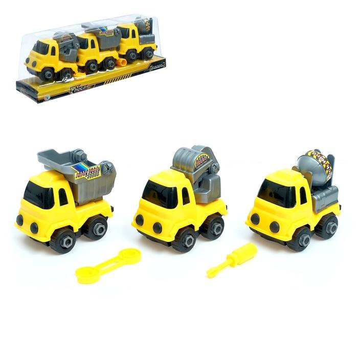 Конструктор винтовой «Строительный транспорт», набор 3 шт. - фото 105577408