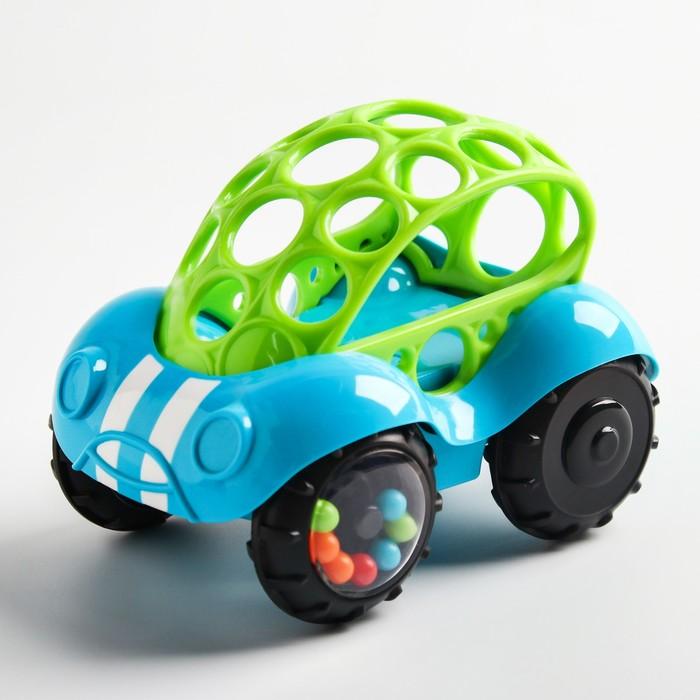Развивающая игрушка с погремушкой «Машинка», голубая