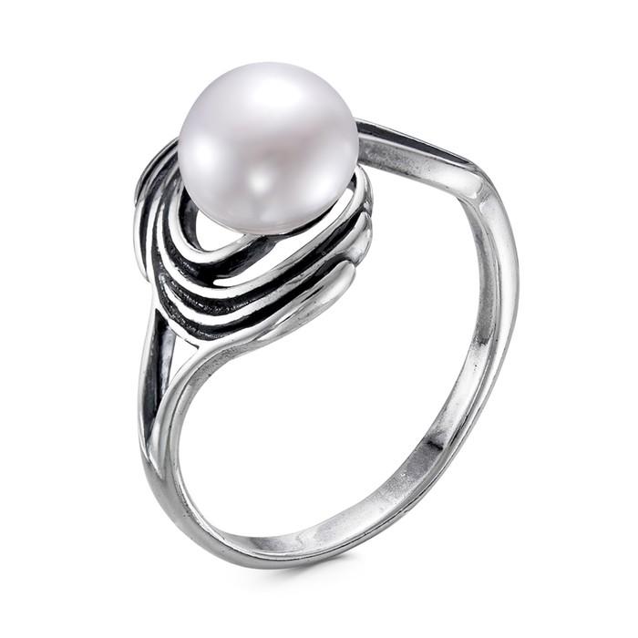 """Кольцо """"Жемчужный серпантин"""", посеребрение с оксидированием, цвет белый, 17 размер"""