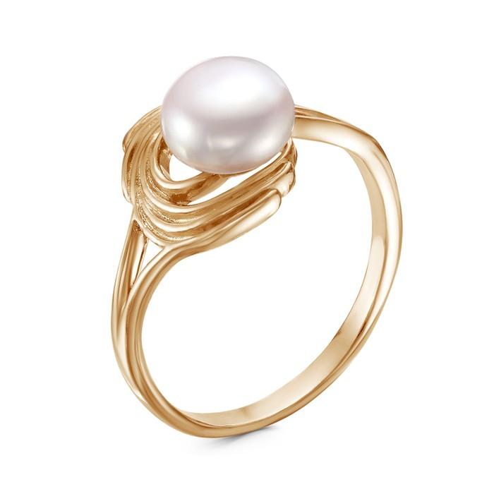 """Кольцо """"Жемчужный серпантин"""", позолота, цвет белый, 17 размер"""