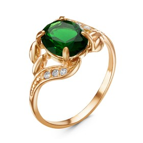 """Кольцо """"Лунное сияние"""" овал, позолота, цвет зелёный, 18,5 размер"""