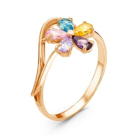 """Кольцо """"Лютик"""", позолота, цветное, 18 размер"""