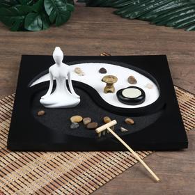 "Сад Дзен ""Медитация инь-ян"" песок белый и чёрный + свеча 11,5х29,5х29,5 см"