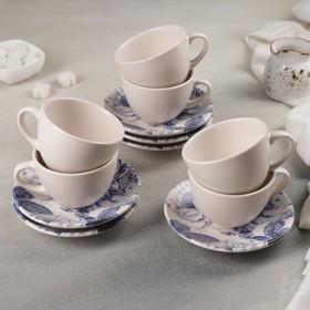 Сервиз чайный 12 предметов «Синяя роза»: 6 чашек, 6 блюдец