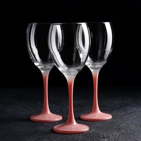 Набор бокалов для вина 3 шт «Венью», 340 мл, 7,1×20,5 см, цвет розовое золото