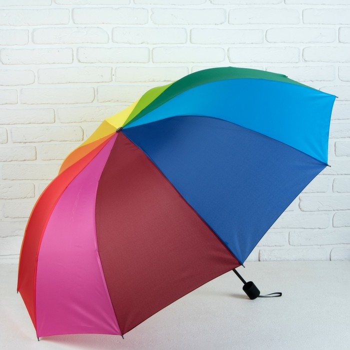 Зонт механический «Радуга», 4 сложения, 10 спиц, R = 61, цвет МИКС