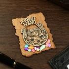 """Magnet """"Domovenok Kuzya in the horseshoe"""", wood, plaster, 7х9 cm"""