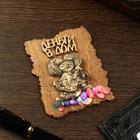 """Magnet """"Domovenok Kuzya with bag"""", wood, plaster, 7х9 cm"""