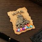 """Magnet """"Owl on branch"""", wood, plaster, 7х9 cm"""