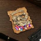 """Magnet """"Bear attendant"""", wood, plaster, 7х9 cm"""