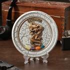 "The souvenir plate ""Dragon"", ceramics, gypsum, minerals, d=11 cm"