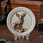 "The souvenir plate ""the Deer of the North"", ceramics, gypsum, minerals, d=11 cm"