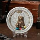 "The souvenir plate ""Bears Family"", ceramics, gypsum, minerals, d=11 cm"
