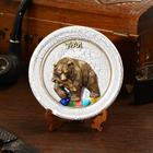 "Plate souvenir ""Bear with fish new"", ceramics, gypsum, minerals, d=11 cm"