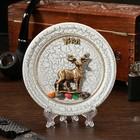 "Plate souvenir ""new Deer"", ceramics, gypsum, minerals, d=11 cm"