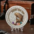 """The souvenir plate """"trout Fish"""", ceramics, gypsum, minerals, d=11 cm"""